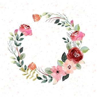 Coroa de flores em aquarela linda