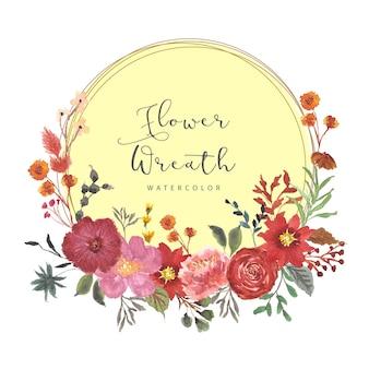Coroa de flores em aquarela lindo outono floral