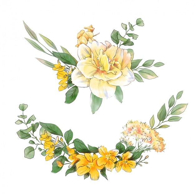 Coroa de flores em aquarela mão desenho de delicadas flores da primavera