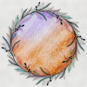 Coroa de flores em aquarela. moldura redonda floral pintada à mão.