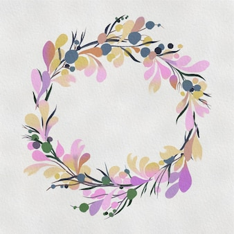 Coroa de flores em aquarela. moldura redonda floral pintada à mão