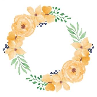 Coroa de flores em aquarela rosa amarela