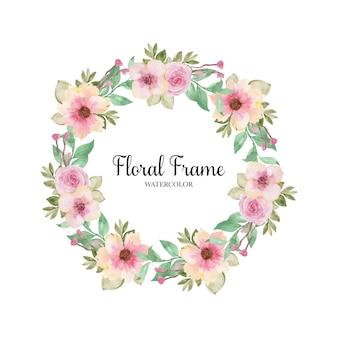 Coroa de flores em aquarela rosa romântica