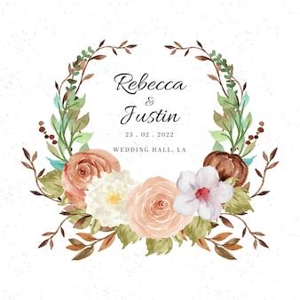 Coroa de flores em aquarela rústica com flores de outono