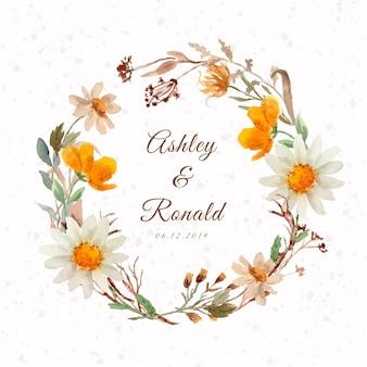Coroa de flores em aquarela rústica de flor branca