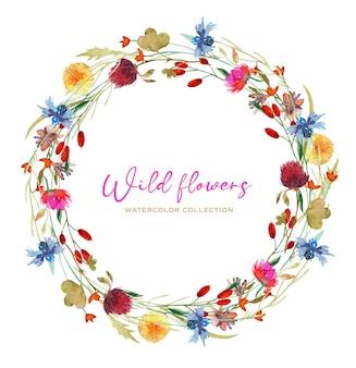 Coroa de flores em aquarela, trevo-leão e outras flores silvestres