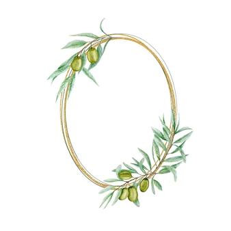 Coroa de flores em aquarela verde oliva, moldura dourada com folhas de ramos de azeitonas