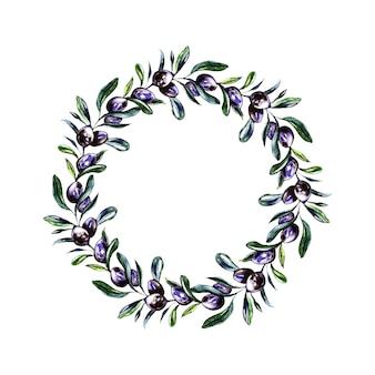 Coroa de flores em aquarela verde-oliva