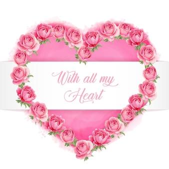 Coroa de flores em forma de coração de peônia aquarela rosa com texto de todo o coração