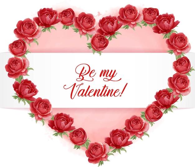 Coroa de flores em forma de coração de peônia vermelha com coração em aquarela e mensagem de amor