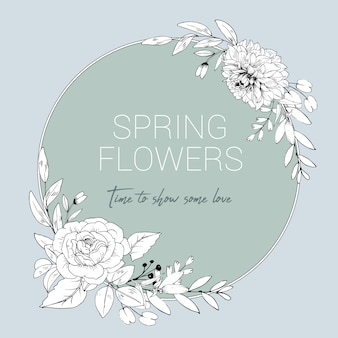 Coroa de flores em linha e folhas estilo de desenho