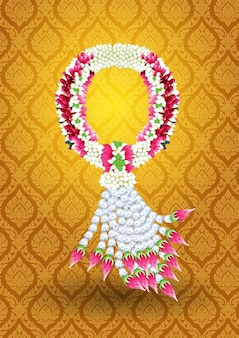 Coroa de flores flor guirlanda estilo tailandês
