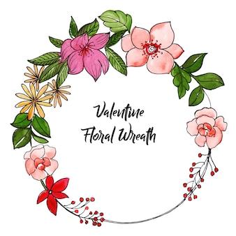 Coroa de flores foral dos namorados em aquarela