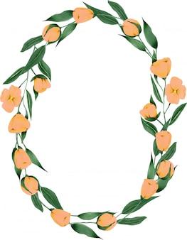 Coroa de flores pintadas à mão. Vetor Premium