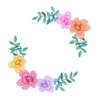 Coroa de flores, quadro com flores e folhas. ilustração de mão desenhada. isolado