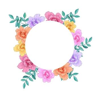 Coroa de flores, quadro com flores e folhas. ilustração de mão desenhada.