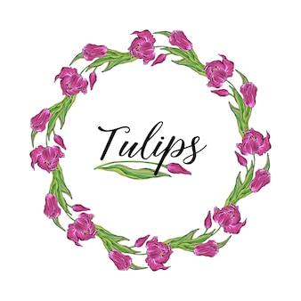 Coroa de flores redonda de vetor colorido tulipa flores, flores da primavera