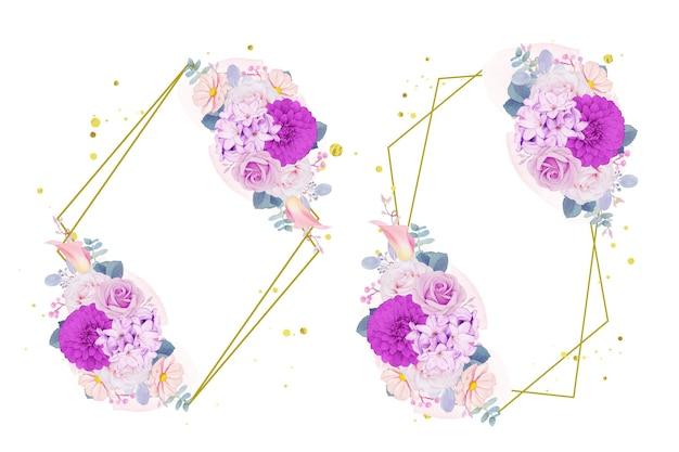 Coroa de flores roxas