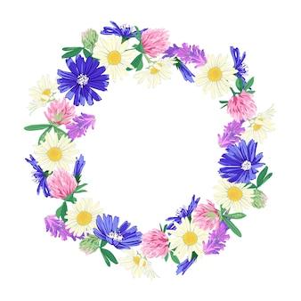 Coroa de flores silvestres isolada no branco