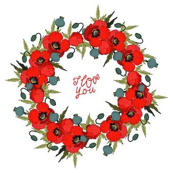 Coroa de flores vermelhas de papoula e letras