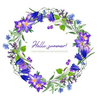 Coroa de flores violeta de campo com açafrão, mão desenhada