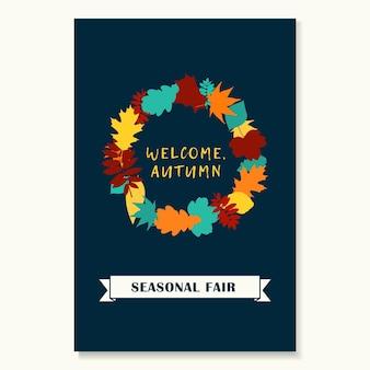 Coroa de folhas de outono. banner da temporada de outono. ilustração vetorial.