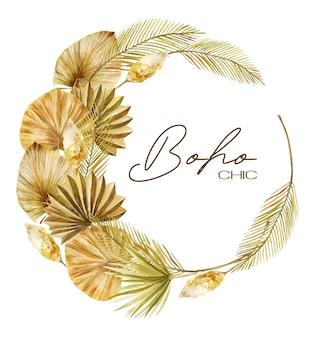 Coroa de folhas de palmeira secas douradas em aquarela no estilo boho