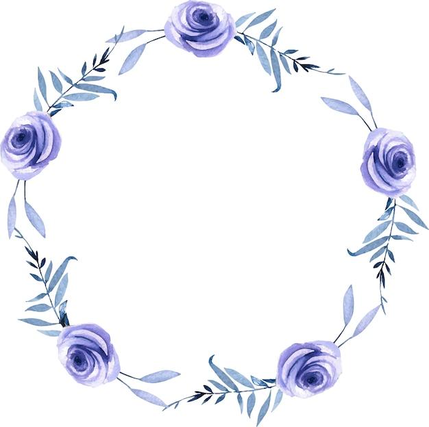 Coroa de folhas e rosas azuis em aquarela, modelo de cartão de saudação