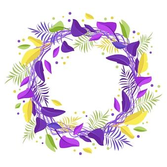 Coroa de folhas exóticas de palmeira ou decorações festivas de verão com moldura redonda