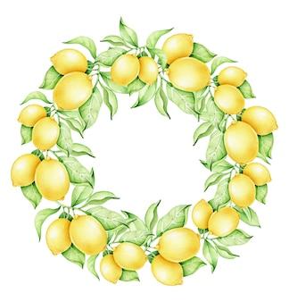 Coroa de limão em aquarela