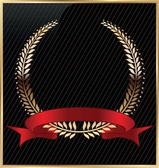 Coroa de louros com conjunto de fita vermelha