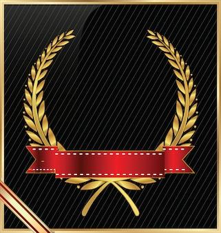 Coroa de louros com fita vermelha