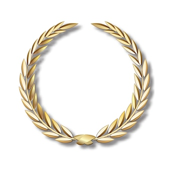 Coroa de louros de ouro de vetor coroa de louros com fita dourada
