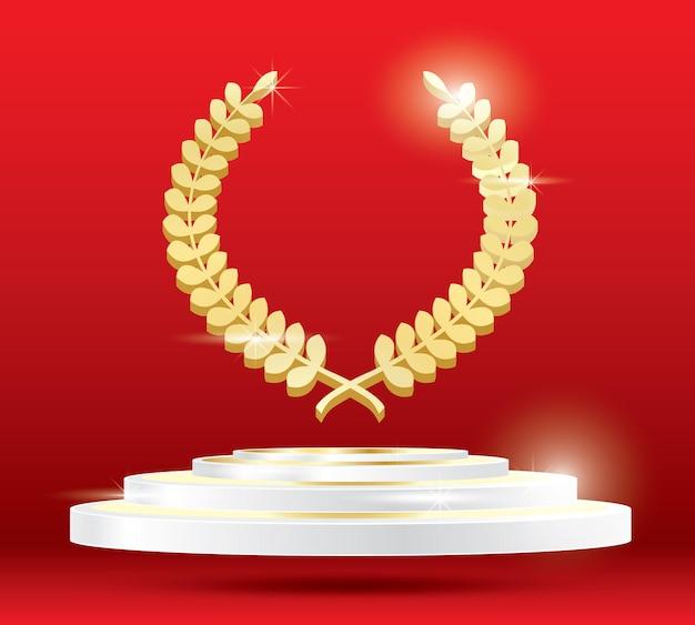 Coroa de louros de ouro no pódio. ilustração vetorial.