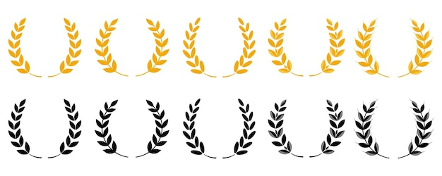 Coroa de louros de ouro - um símbolo do vencedor. conjunto de espigas de trigo ou ícones de arroz. símbolos agrícolas isolados no fundo branco. elementos de design para embalagem de pão ou rótulo de cerveja. conjunto de ícones do vetor.