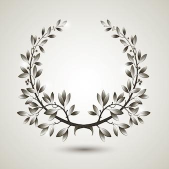 Coroa de louros de prata com sombra