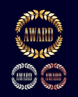 Coroa de louros do prêmio de ouro, prata e bronze isolada em fundo escuro Vetor Premium