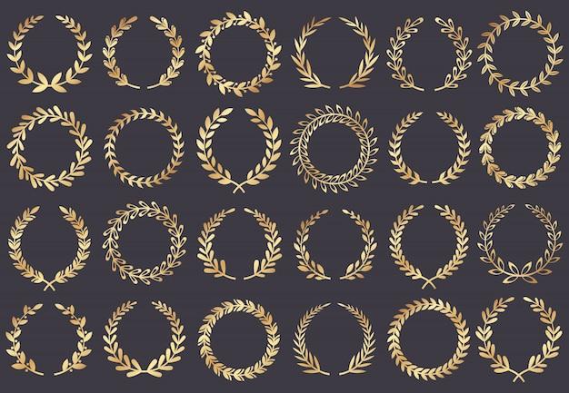 Coroa de louros dourada. prêmios do festival de cinema, atriz premiada, símbolo da folha de filme de cannes