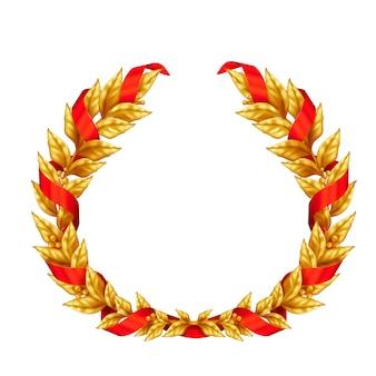 Coroa de louros dourada triunfal do vencedor entrelaçada com sinal realista de fita vermelha