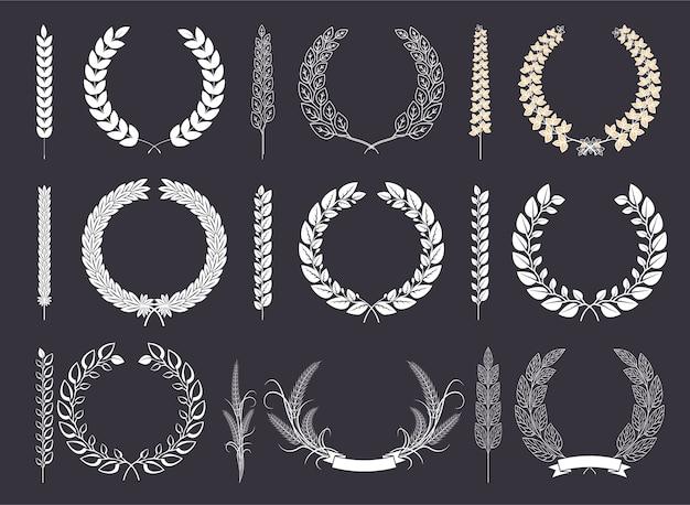 Coroa de louros e coleção de vetores de ramos