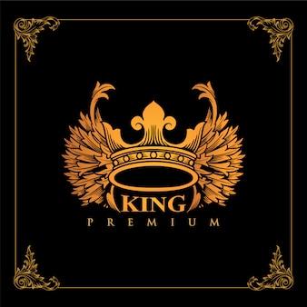 Coroa de luxo do rei alado dourado design de logotipo
