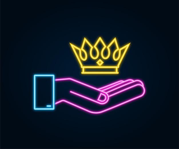 Coroa de néon do rei pairando sobre mãos isoladas em fundo escuro