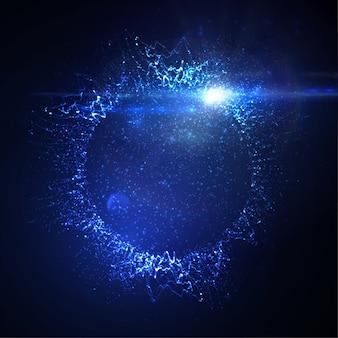Coroa de néon iluminada ou respingo de partículas brilhantes e efeito de luz de reflexo de lente
