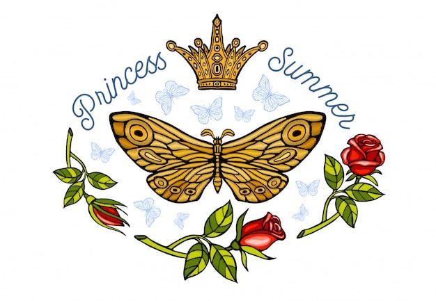Coroa de ouro, bordado de borboletas douradas