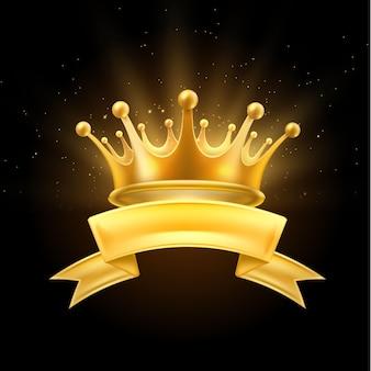 Coroa de ouro com símbolo do vencedor da fita, rei ou rainha, símbolo do primeiro lugar