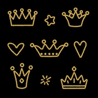 Coroa de ouro definida em preto
