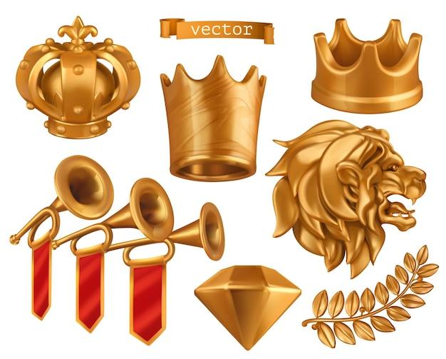 Coroa de ouro do rei conjunto 3d