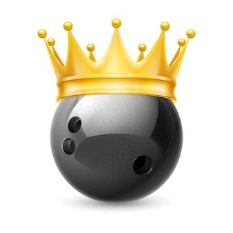 Coroa de ouro na bola para boliche