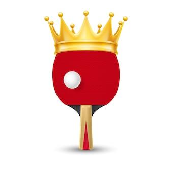 Coroa de ouro na raquete de tênis