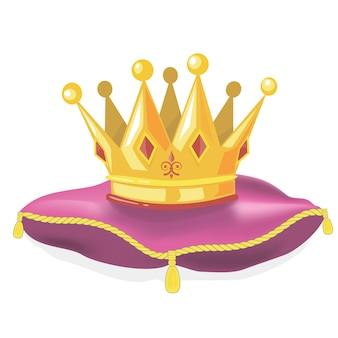 Coroa de ouro real no travesseiro